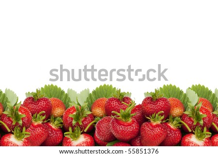 Strawberries horizontal border over white. - stock photo
