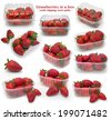 strawberries in a box (with path) - stock photo