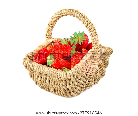 strawberries in basket, strawberry season open , delicious juicy red strawberry picked on white background Studio Shot