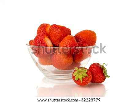 Strawberries in glass dish