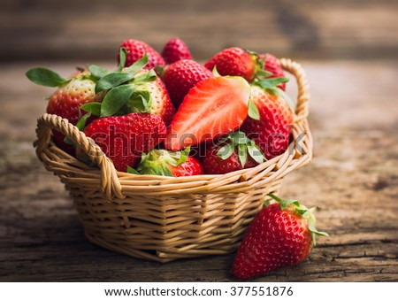 Strawberries in the basket - stock photo