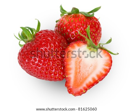 strawberries isolated on white - stock photo