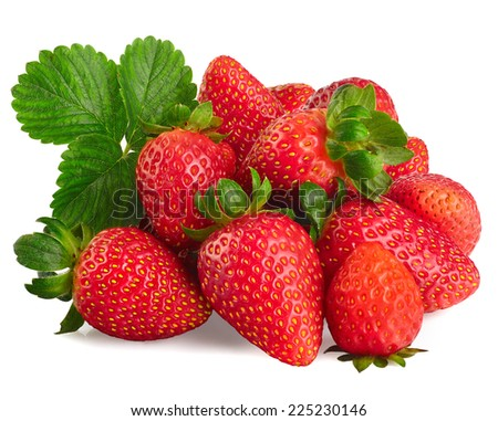Strawberries isolated over white background - stock photo