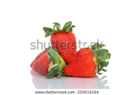 strawberries isolated white background - stock photo