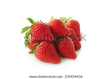 strawberries on a white background - stock photo