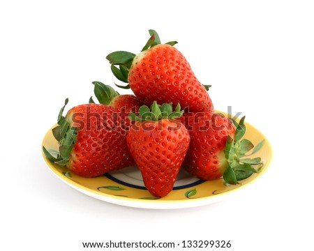 strawberries on plate isolated on white - stock photo