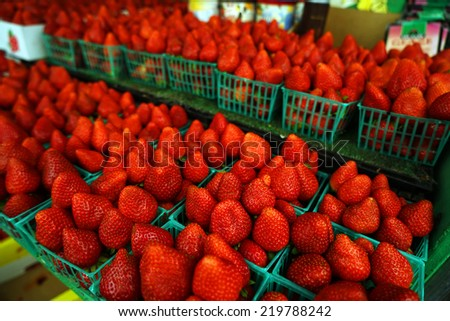 Strawberries on sale in the market - stock photo