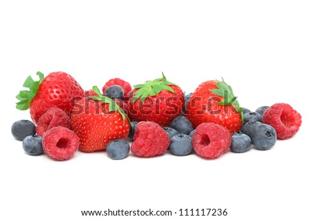Strawberries, raspberries and blueberries isolated on white background - stock photo