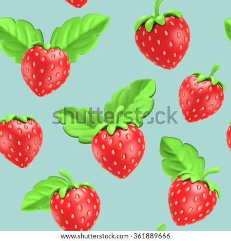 Strawberries seamless pattern blue background, vintage illustration Virtual 3D - stock photo