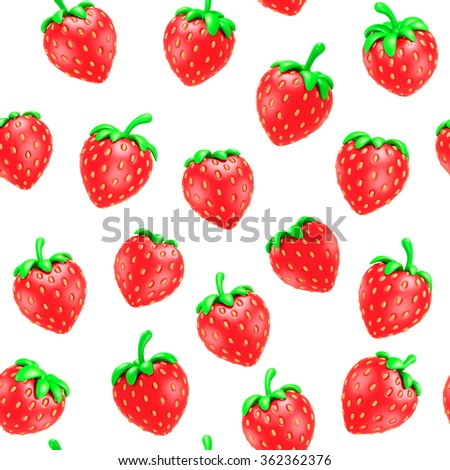 Strawberries seamless pattern white background, vintage illustration Virtual 3D isolated - stock photo
