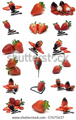 strawberries with chocolate collection isolated on a white background. - stock photo