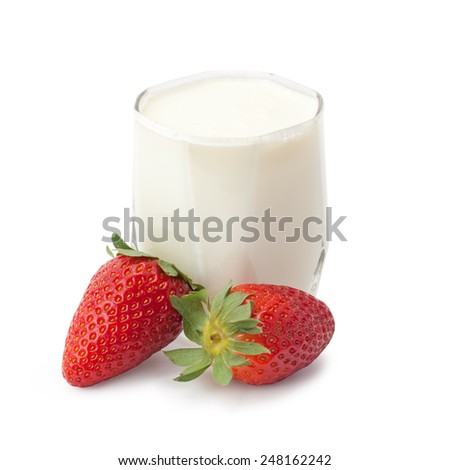 strawberries with cream isolated on white background - stock photo
