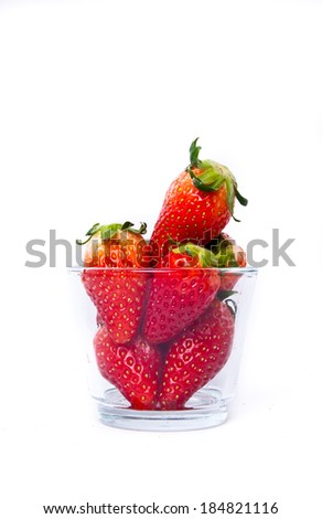 Strawberries with glasses cup style isolated on white.