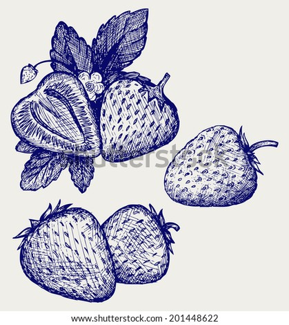 Strawberries with leaves. Doodle style. Raster version - stock photo