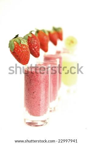 Strawberry and banana smoothies - stock photo
