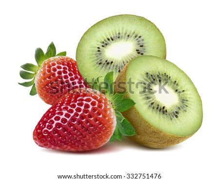 Strawberry and kiwi half isolated on white background as package design element - stock photo