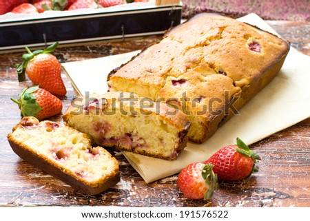 Strawberry ans yogurt cake with fresh strawberries on rustic background - stock photo