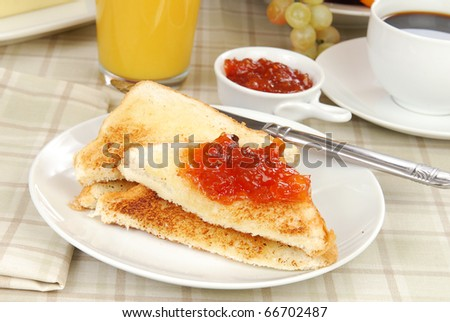 Strawberry apple jam on thick Texas toast