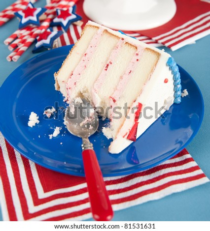 Strawberry Cake for Celebration of Independence Day in July - stock photo