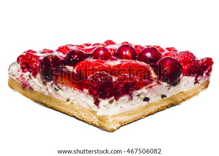 Strawberry cheesecake on a white background