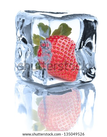 Strawberry chilled in Ice cube isolated on white background cutout
