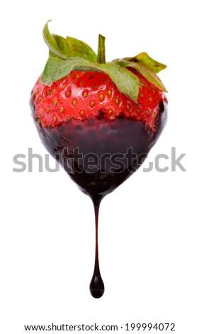 Strawberry chocolate dip isolated on white background - stock photo