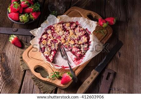 strawberry chocolate tart - stock photo