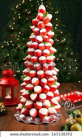 Strawberry Christmas tree - stock photo