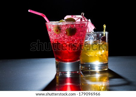 Strawberry cocktail and whiskey liqueur glass at the club
