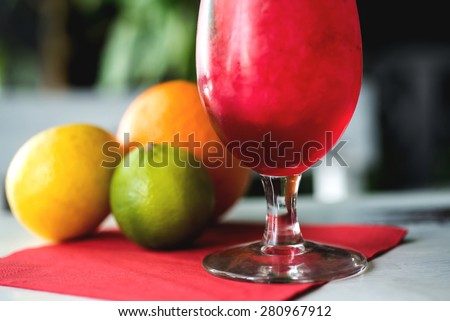 Strawberry cocktail decorated with mint in glass. Selective focus - stock photo