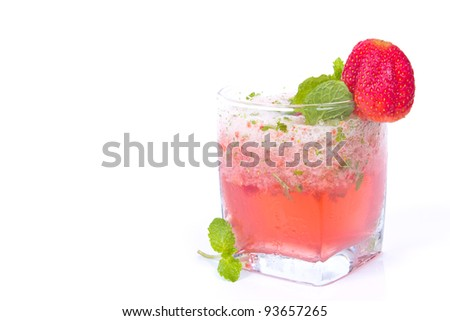 Strawberry cocktail with crushed ice - stock photo
