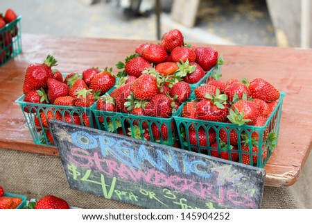 Strawberry Crates at the Santa Barbara Farmer's Market - stock photo