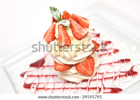 Strawberry Cream Meringue desert pavlova - stock photo