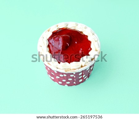 Strawberry cupcake top view - stock photo