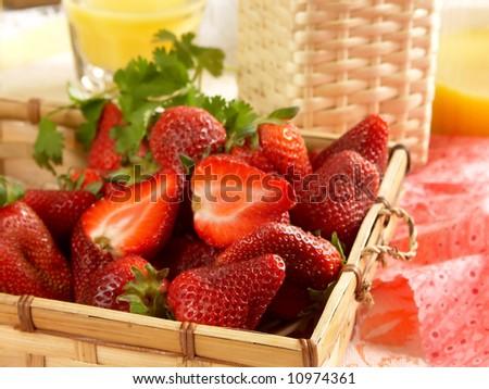 strawberry dessert with orange juice - stock photo