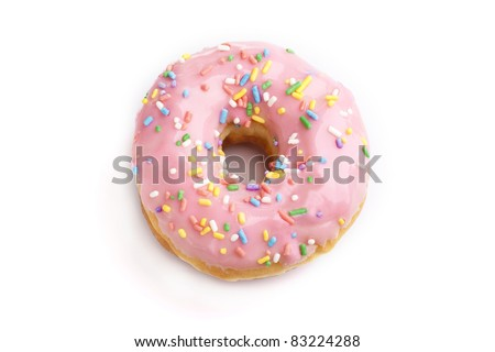 Strawberry donut on white background - stock photo