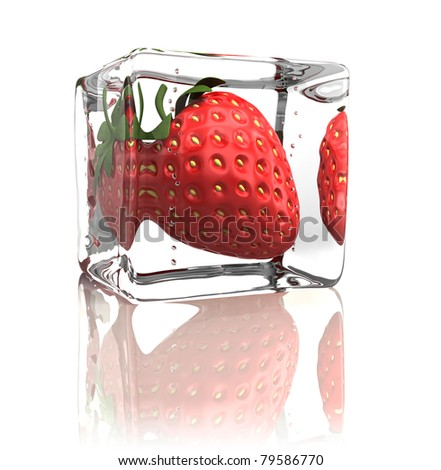 Strawberry frozen in ice cube isolated on white - stock photo