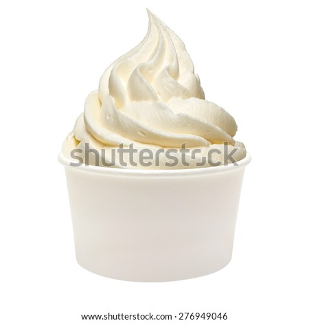 Strawberry frozen yogurt with sauce in takeaway cup on white background - stock photo