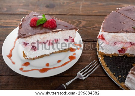 Strawberry Fruit Cake Slice - stock photo
