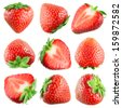 Strawberry. Fruits on white. Collection - stock photo