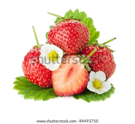 Strawberry fruits with flowers and leaves. Isolated on white background - stock photo