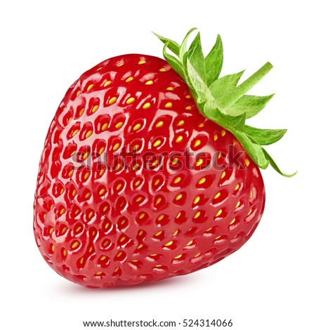 Strawberry half isolated on white background. Clipping Path