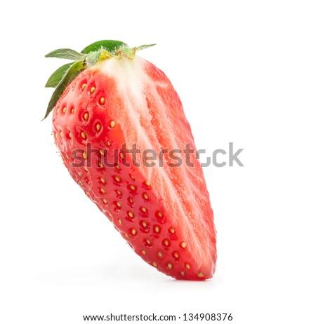 Strawberry halves isolated on white background - stock photo