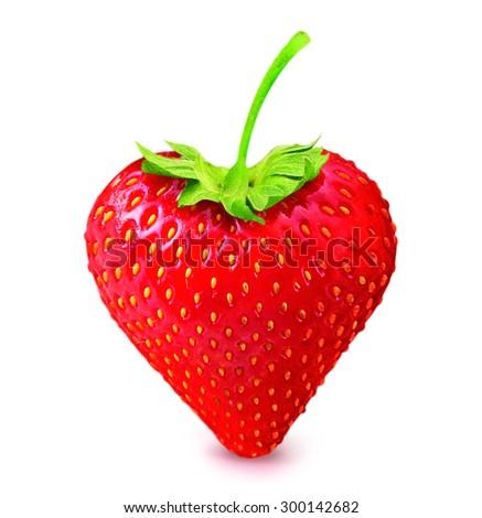strawberry heart shape isolated on white background - stock photo