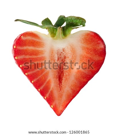 Strawberry heart shape white isolated. Valentine heart.