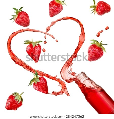 Strawberry heart splash from a bottle with flying fruits  - stock photo