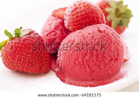 Strawberry ice with Strawberries - stock photo