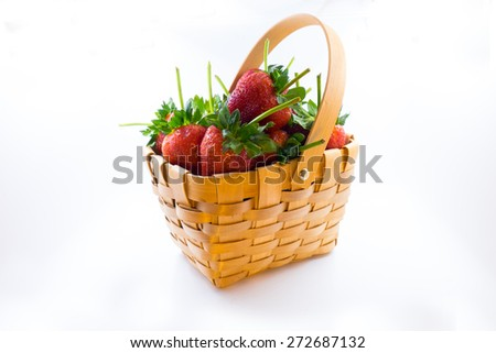 strawberry in basket - stock photo