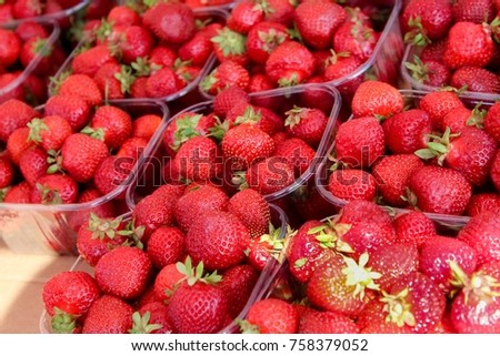 Strawberry in market summer time