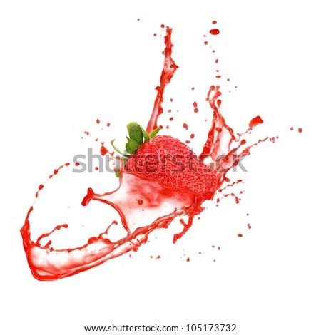Strawberry in splash, isolated on white background - stock photo